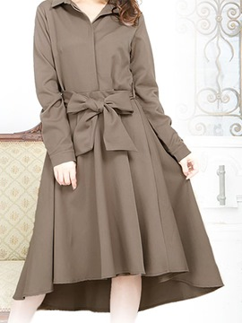 Ericdress Lapel Bowknot Belt Asymmetrical Day Dress