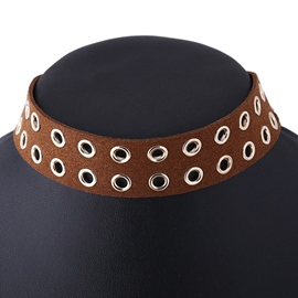Ericdress Punk Brown Leather Velvet Choker Necklace