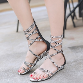 Ericdress Snake Print Toe Ring Flat Sandals