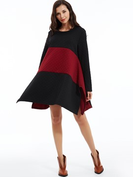 Ericdress Loose Color Block Round Neck Casual Dress