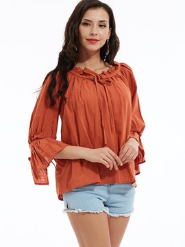 Ericdress Plain Ruffled Collar Flare Sleeves Blouse