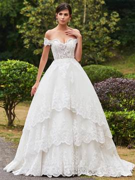 Ericdress Elegant Appliques Off The Shoulder Ball Gown Wedding Dress