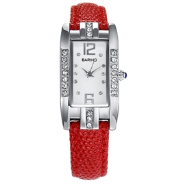 Ericdress Red Band Rectangle Dial Diamante Women's Watch