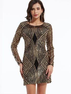 Ericdress Round Neck Strip Sequins Bodycon Dress