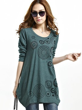 Ericdress Circle Pattern Pleated Loose T-Shirt