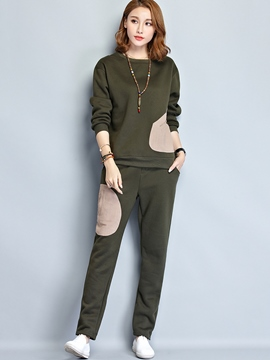 Ericdress Color Block Long Sleeve Hoodie Pants Suit