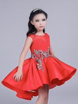 Ericdress Flower Embroidery Pleated Sleeveless A-Line Girls Princess Dress