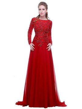 Ericdress Long Sleeves A-Line Beading Long Evening Dress