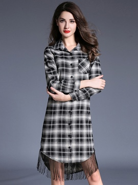 Ericdress Plaid Tassel Lapel Single-Breasted Casual Dress