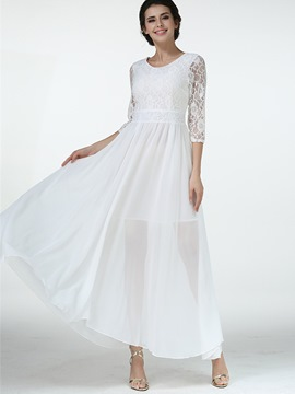 Ericdress Sweet Lace Patchwork See-Through Round Collar Maxi Dress