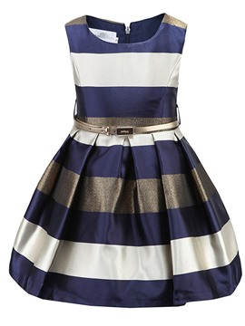 Ericdress Stripe Sleeveless With Belt Girls Dress