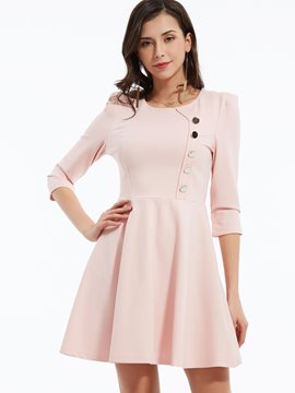 Ericdress Single-Breasted Stylelines Pleated Casual Dress