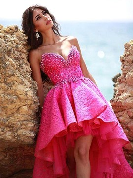 Chic A Line Sweetheart High Low Asymmetry Lace Prom Dress
