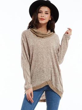 Ericdress Color Block Loose Turtleneck Knitwear