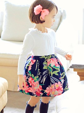 Ericdress Floral Print Pathcwork Vintage Girls Dress