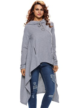 Ericdress Solid Color Lace-Up Irregular Hem Hoodie