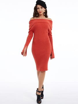 Ericdress Split Plain Slash Neck Bodycon Dress
