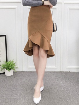 Ericdress Solid Color Asymmetric Ruffles Pleated Mermaid Skirt