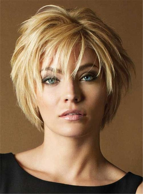 Ericdress Short Layered Hairstyle Human Hair Lace Front Women Wigs 10 Inches