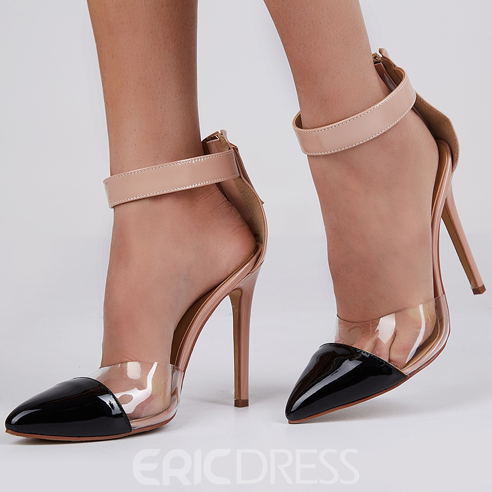 Ericdress Patchwork Point Toe Ankle Strap Stiletto Sandals 12741866