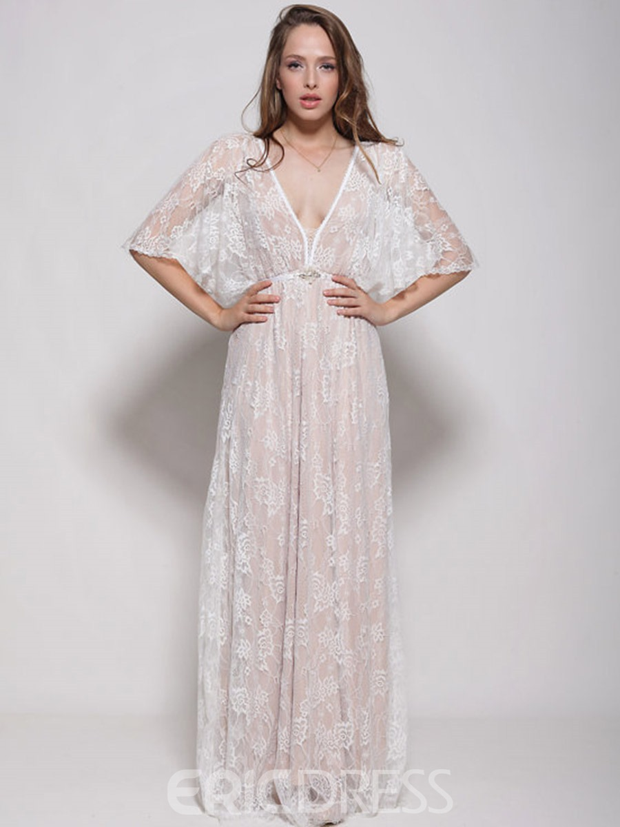 Ericdress V-Neck Batwing Sleeve Expansion Maxi Dress