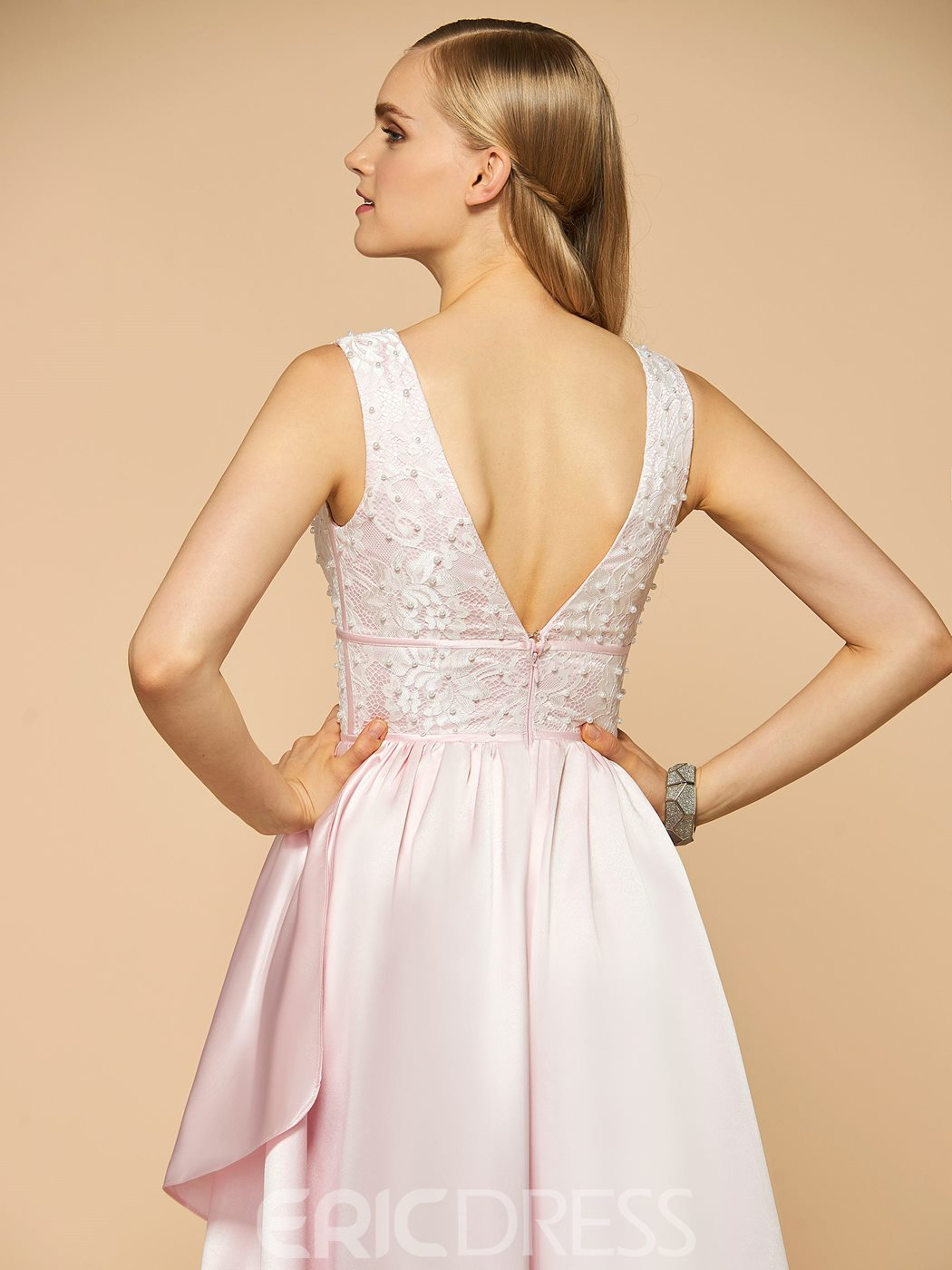 Ericdress Beautiful V Neck Lace Pearls High Low Bridesmaid Dress
