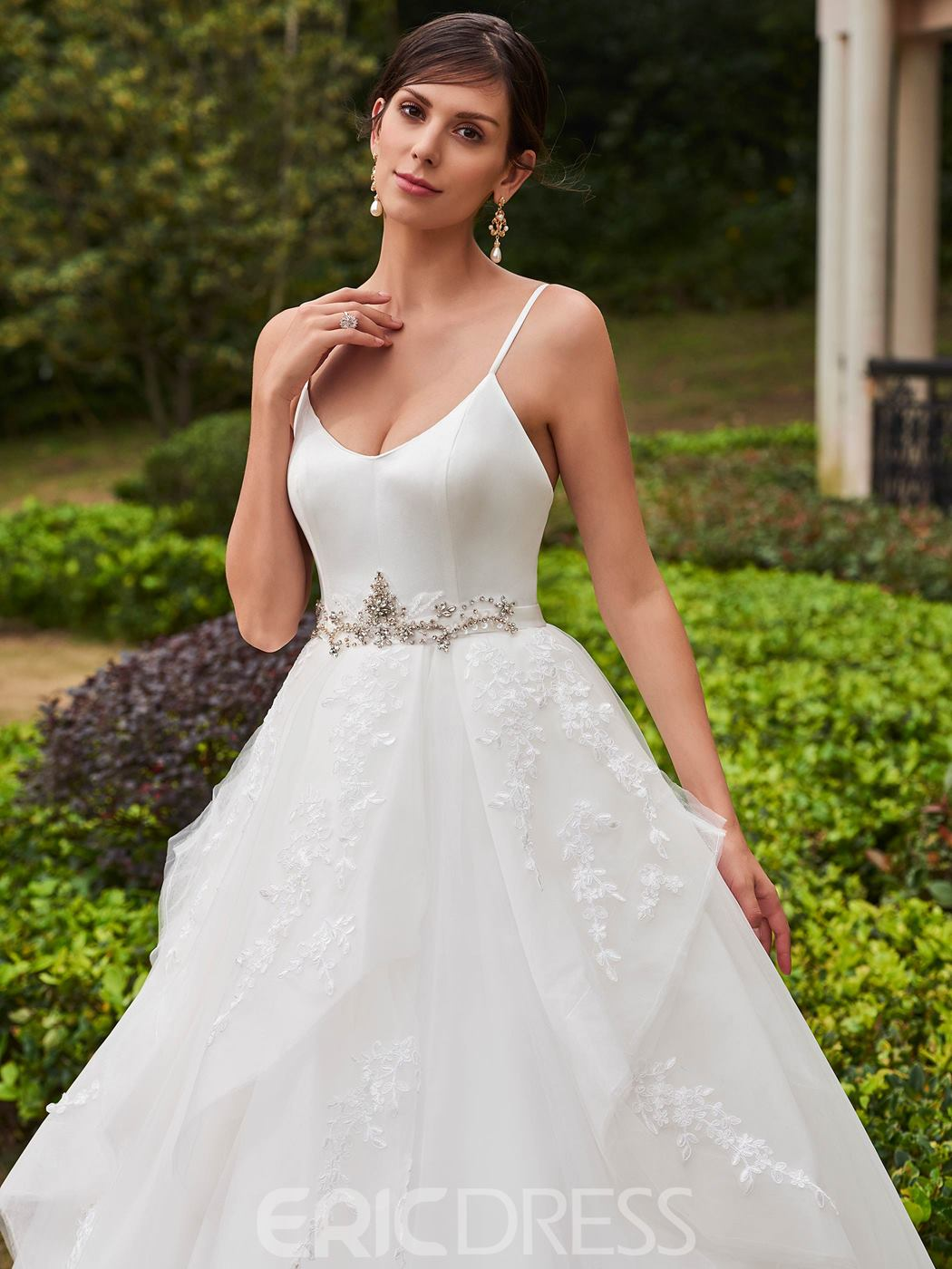 Ericdress Spaghetti Straps Beaded Appliques Ball Gown Wedding Dress