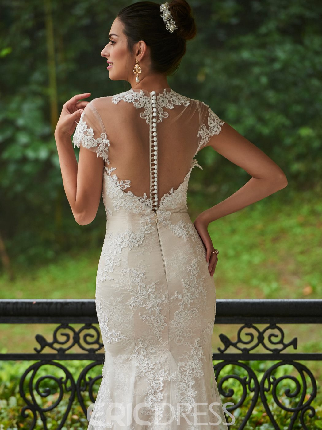 Ericdress Charming Jewel Appliques Mermaid Lace Wedding Dress