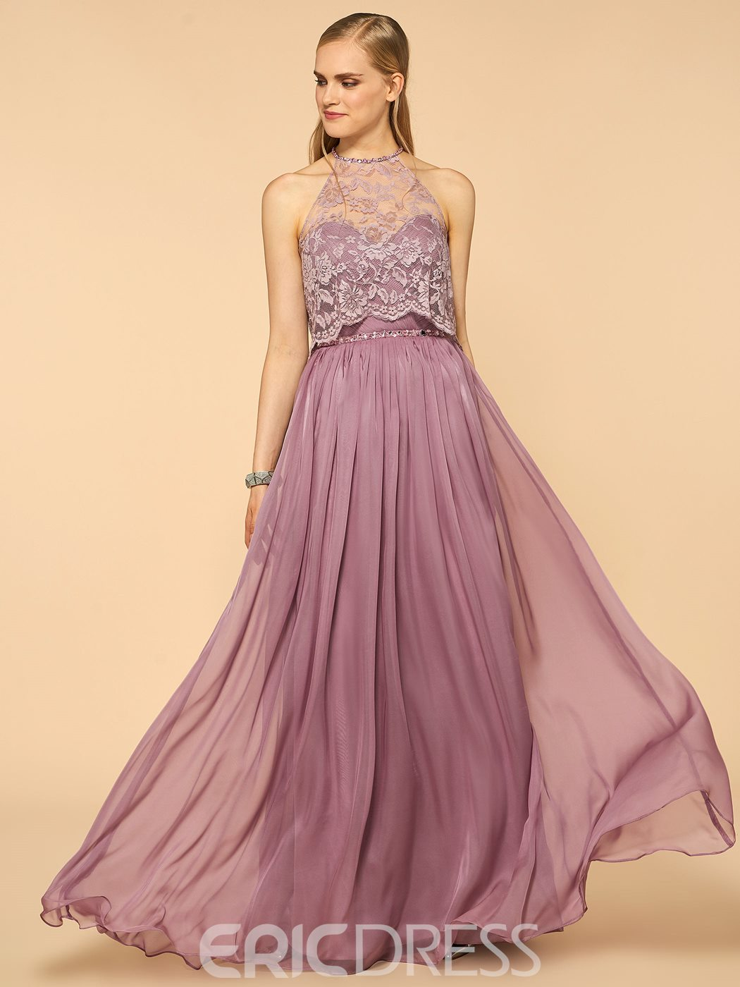 Ericdress Charming Halter Beaded Lace A Line Long Bridesmaid Dress