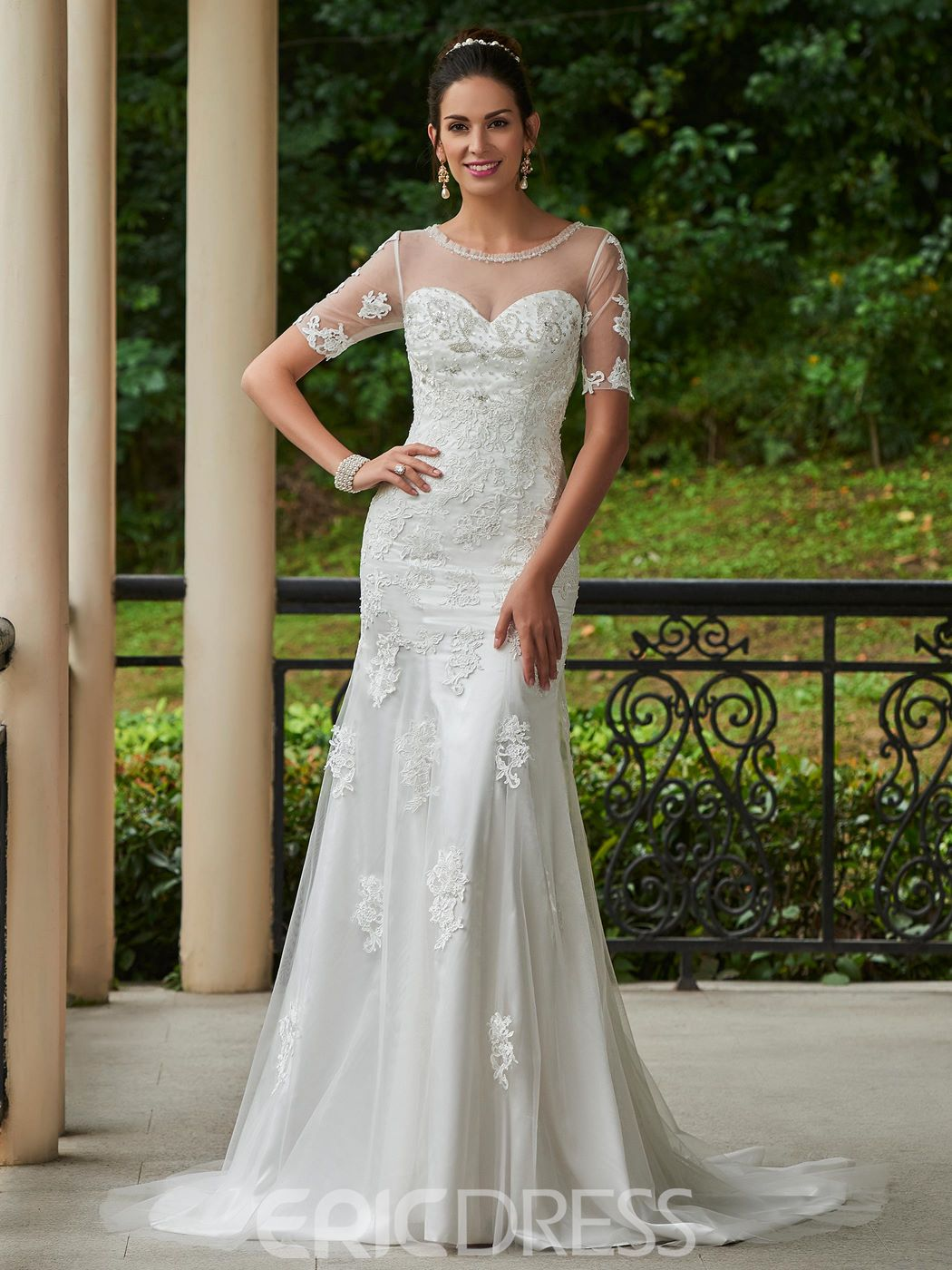 Ericdress Beautiful Scoop Appliques Beaded Mermaid Wedding Dress