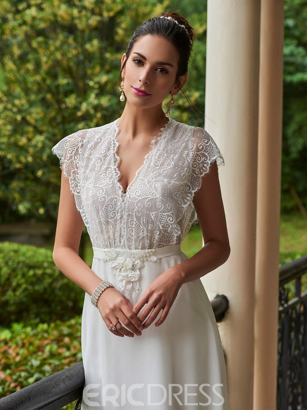 Ericdress Charming V Neck Lace A Line Wedding Dress