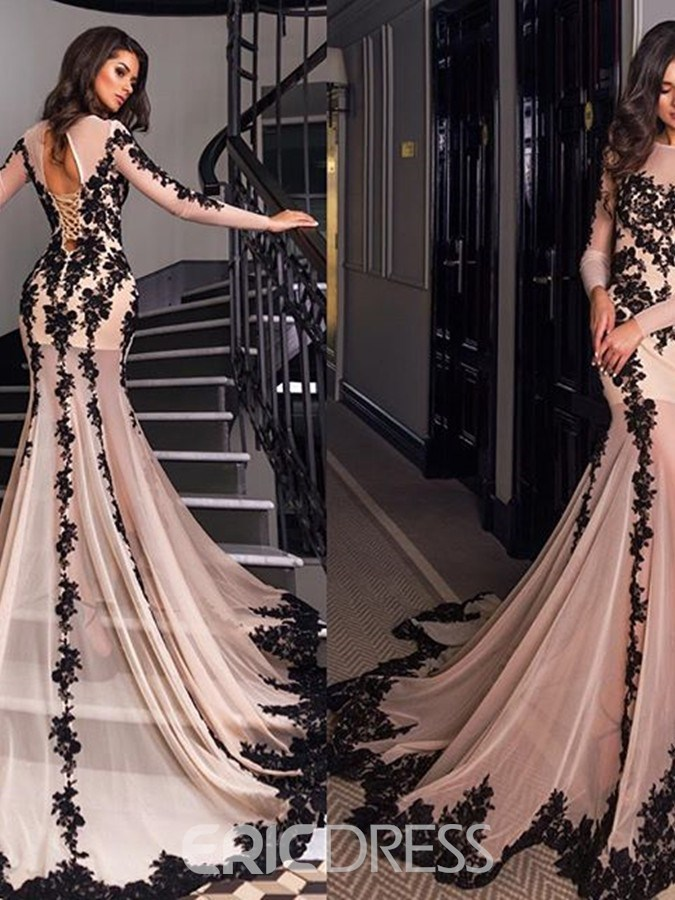 Ericdress 3/4 Sleeves Appliques Mermaid Evening Dress With Chapel Train