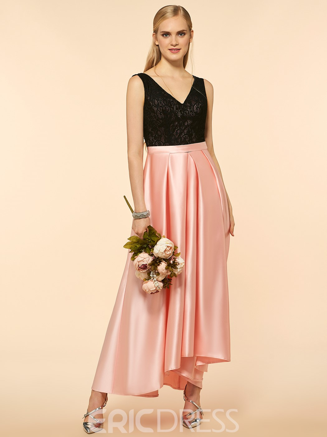 Ericdress Beautiful V Neck Lace A Line High Low Bridesmaid Dress