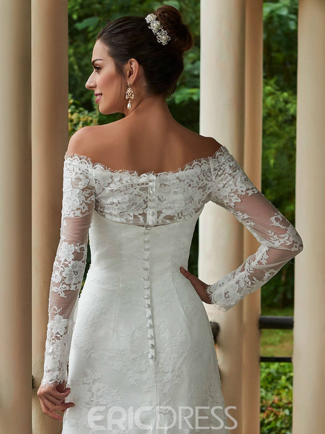 Ericdress Elegant Off The Shoulder A Line Long Sleeves Lace Wedding Dress