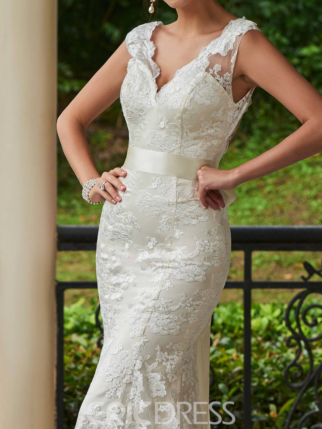 Ericdress Charming V Neck Backless Lace Mermaid Wedding Dress