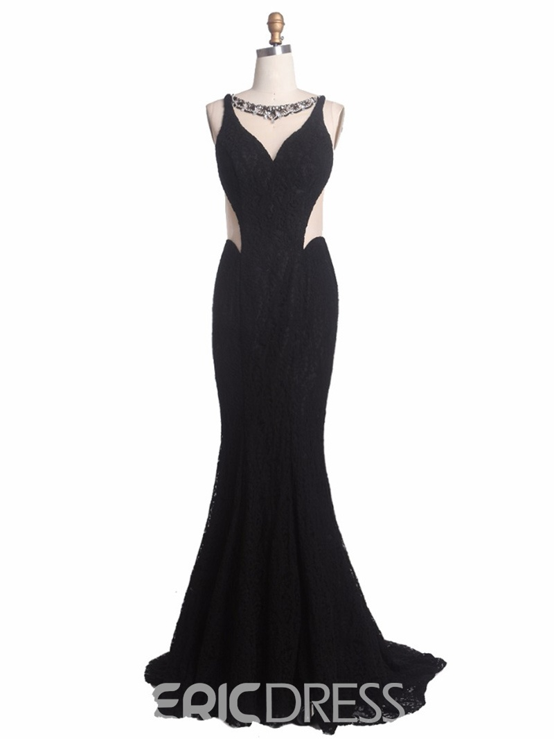 Ericdress Delicate Jewel Neck Beading Crystal Lace Court Train Mermaid Evening Dress