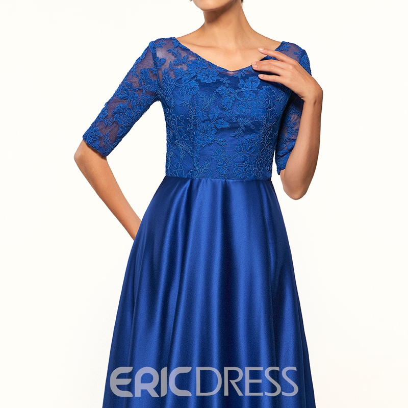Ericdress Elegant V Neck Lace Half Sleeves Long Mother Of The Bride Dress