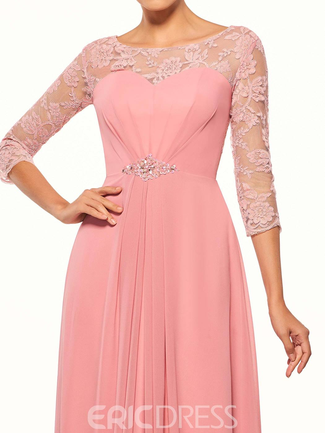 Ericdress Elegant Scoop 3/4 Length Sleeves Beaded Long A Line Mother Of The Bride Dress