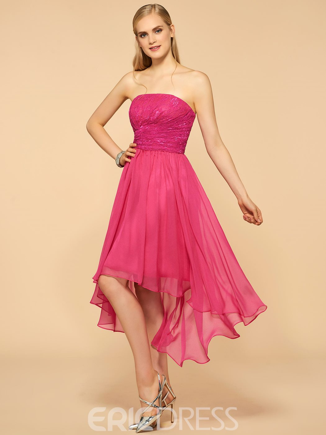 Ericdress Strapless Lace Asymmetry Bridesmaid Dress