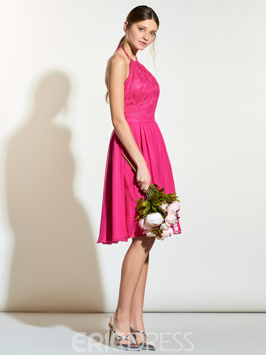 Ericdress Halter Lace A Line Knee Length Bridesmaid Dress