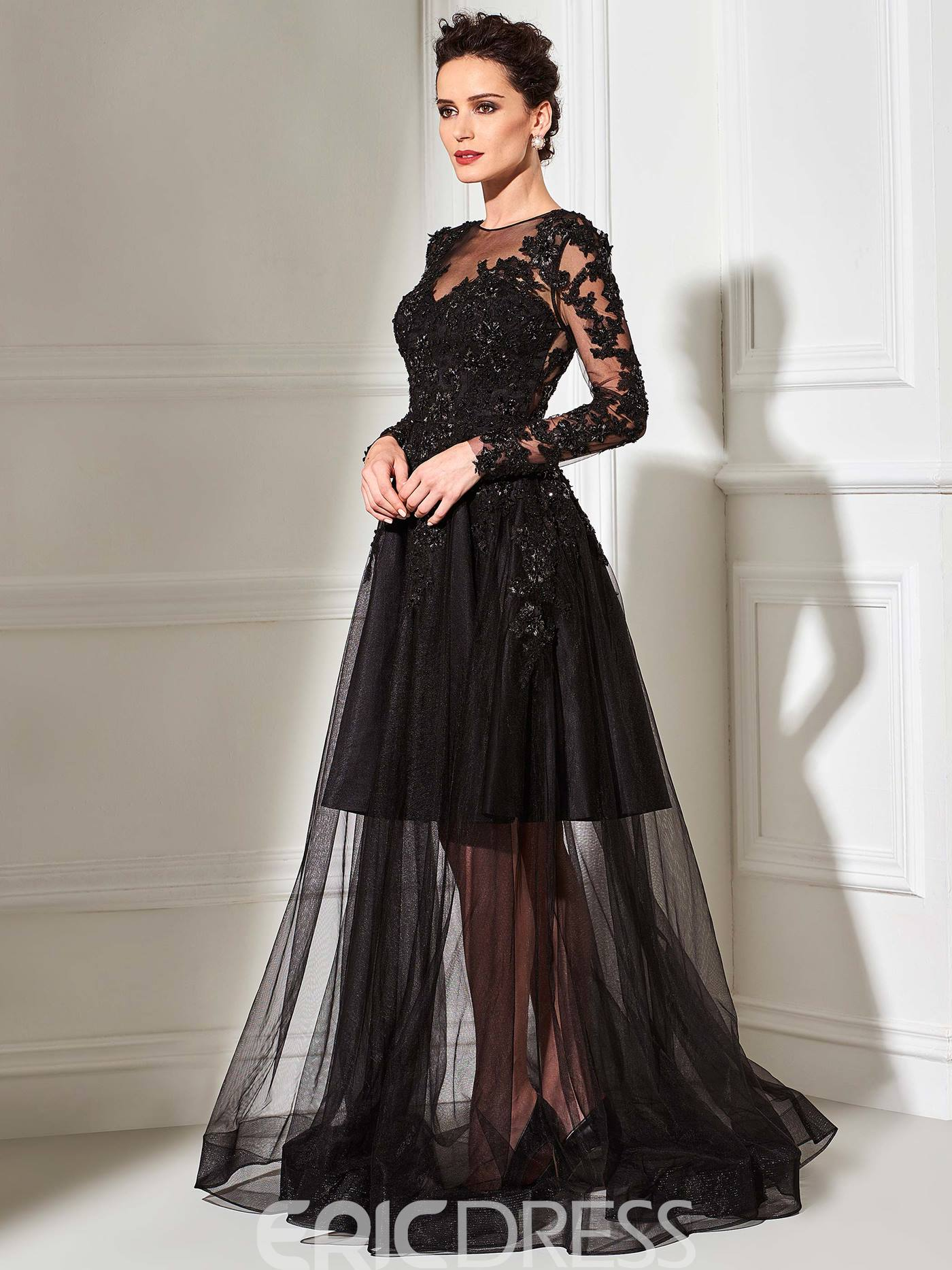 Ericdress A-Line Scoop Neck Long Sleeves Sheer Tulle Appliques Evening Dress