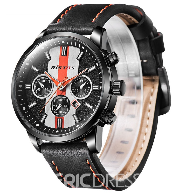 Ericdress Casual Black Leather Band Round Men's Watch