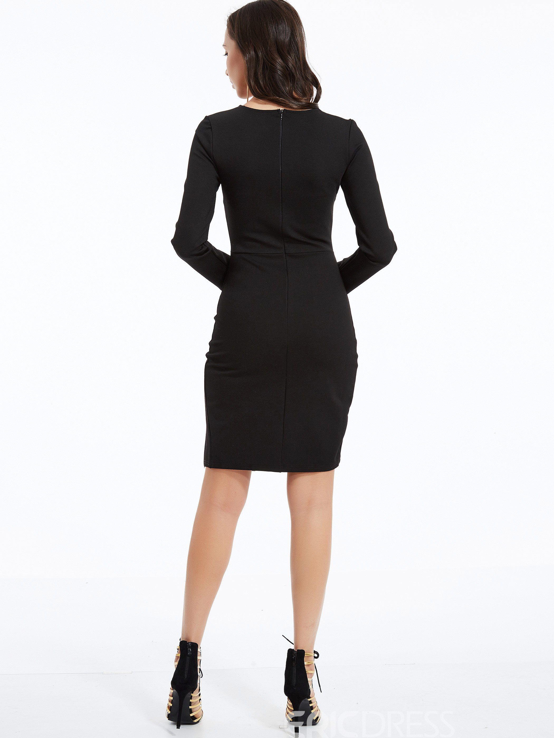 Ericdress V-Neck Lace-Up Bodycon Dress