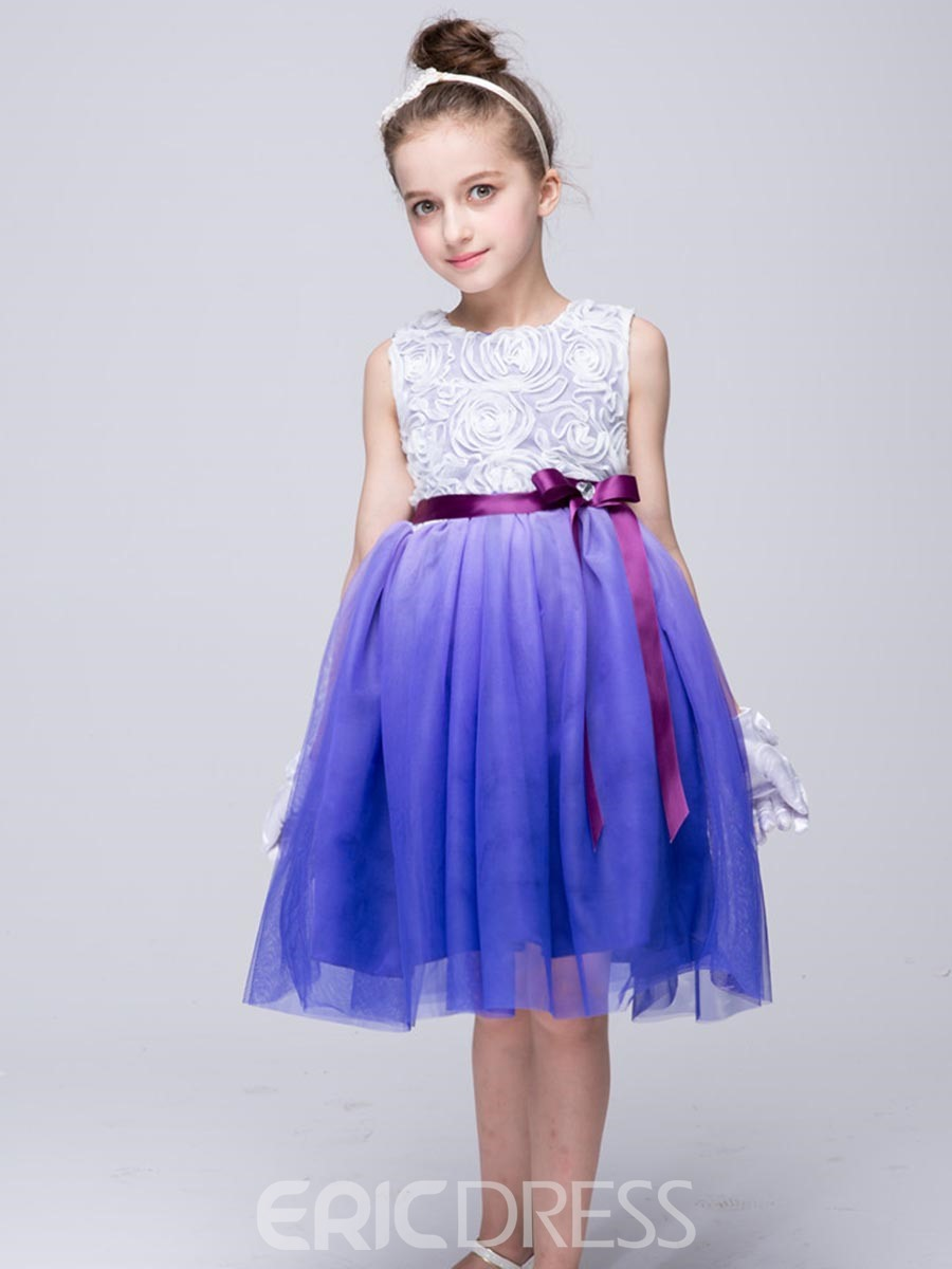 Ericdress Gradient Floral Embroidery Girls Dress
