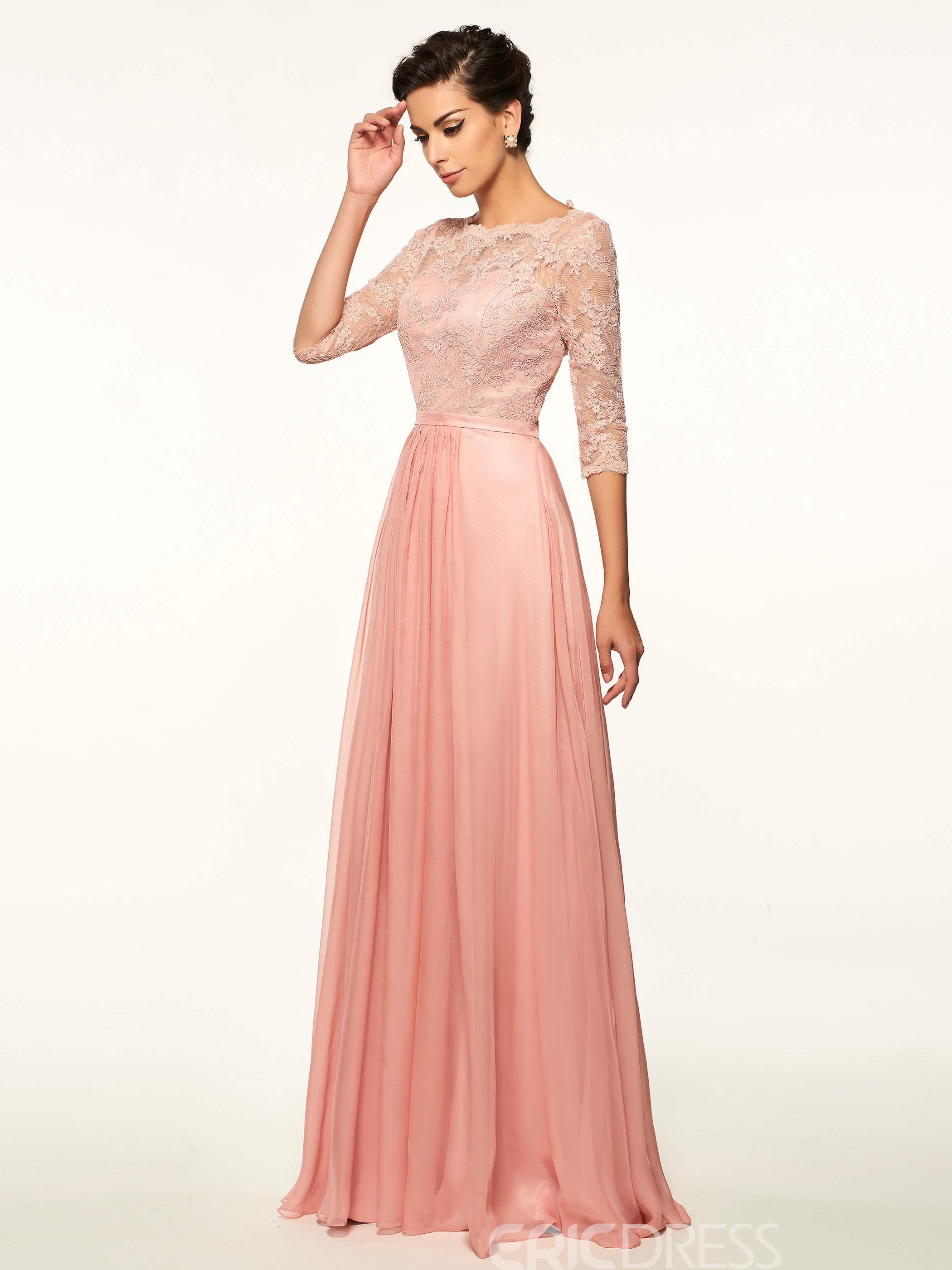 Ericdress Lace Half Sleeves A Line Long Scoop Mother Of The Bride Dress