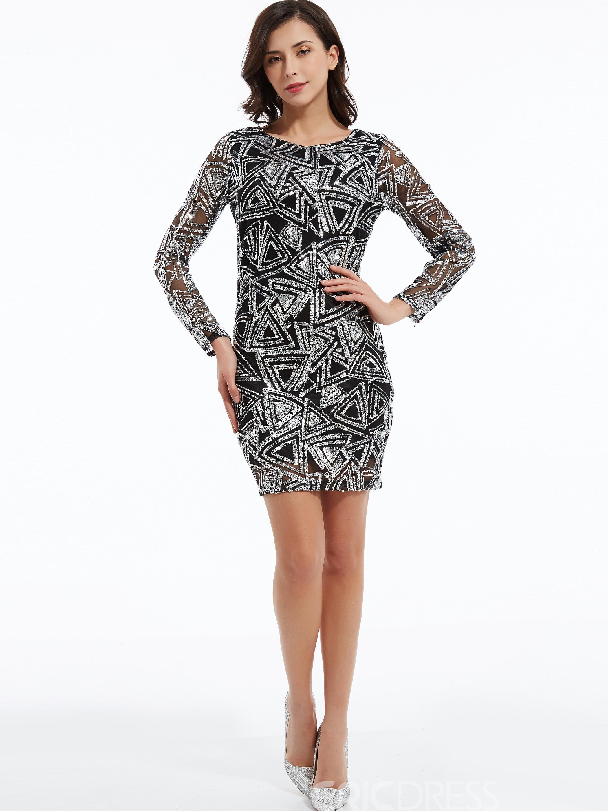 Ericdress Round Neck Geometric Sequins Bodycon Dress