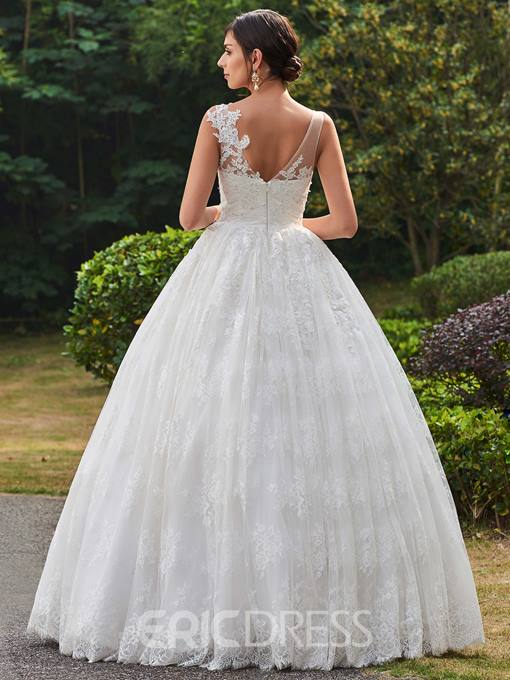 Ericdress Classic V Neck Ball Gown Lace Wedding Dress