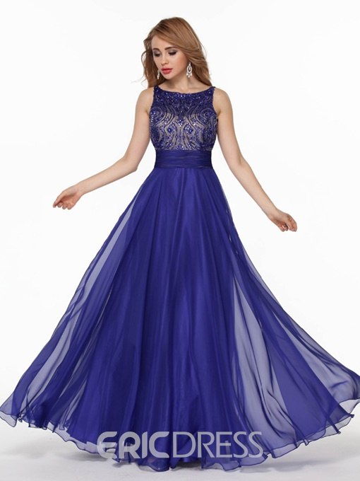 Ericdress A Line Beaded Crystal Long Evening Dress With Backless Design