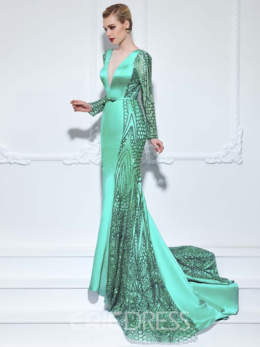 Ericdress Long Sleeves Trumpet V-Neck Bowknot Hollow Sashes Sequins Court Train Evening Dress