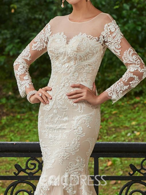 Ericdress Button Back Appliques Long Sleeves Mermaid Wedding Dress